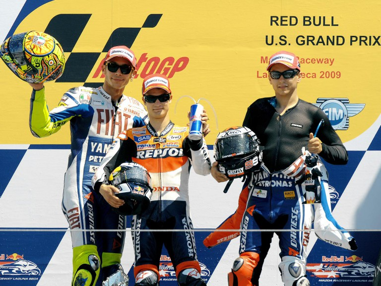 rossi, Pedrosa and Lorenzo on the podium at the Red Bull U.S. Grand Prix
