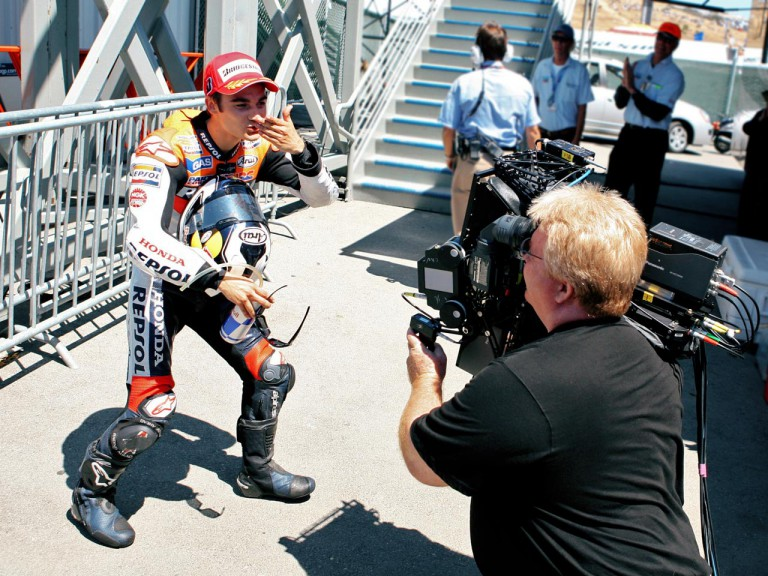 Dani Pedrosa  for the first ever HD 3D filming of a MotoGP event at Laguna