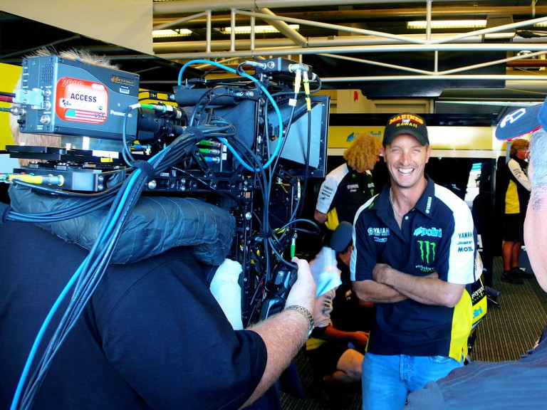 Colin Edwards for the first ever HD 3D filming of a MotoGP event at Laguna