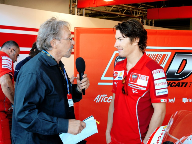 Nicky Hayden and Academy Award winner John Bruno for the first ever HD 3D filming of a MotoGP event