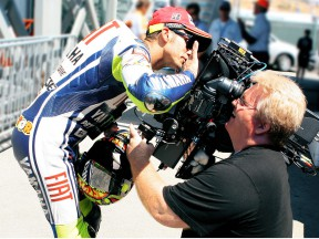 Valentino Rossi for the first ever HD 3D filming of a MotoGP event at Laguna