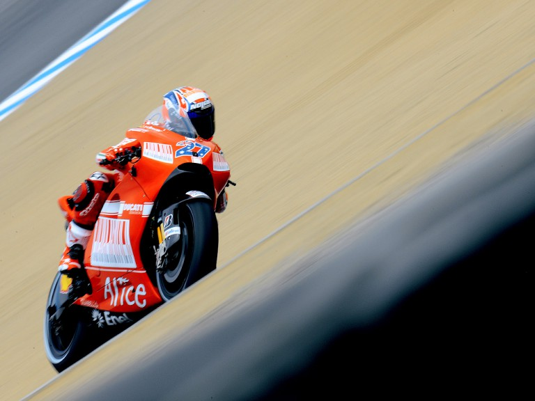 Casey Stoner in action at the Red Bull U.S. Grand Prix