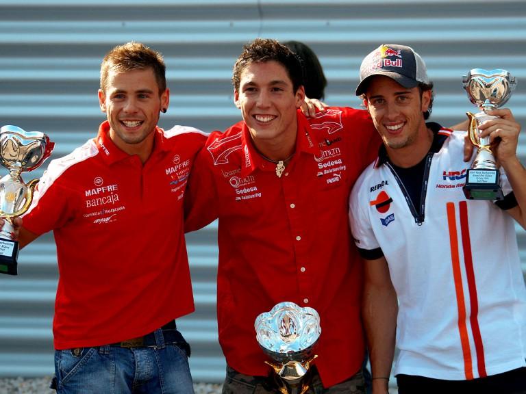 Álvaro Bautista, Aleix Espargaró and Andrea Dovizioso, Podium finishers in kart event