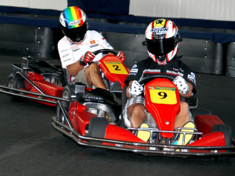 Marco Melandri and Alex de Angelis in Kart event