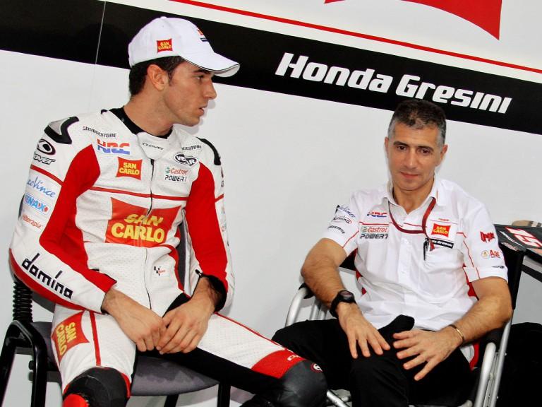 Alex de Angelis in the San Carlo Honda garage
