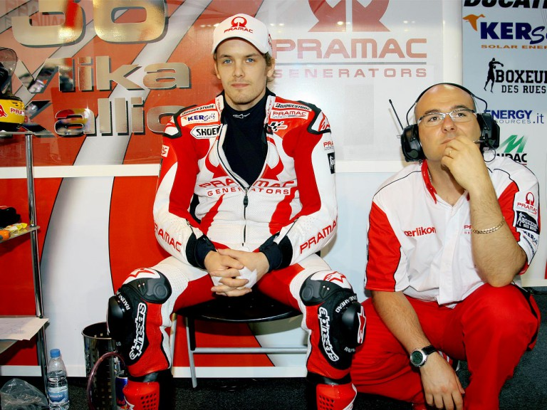 Mika Kallio in the Pramac Racing garage