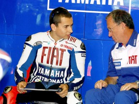 Jorge Lorenzo in the Fiat Yamaha garage