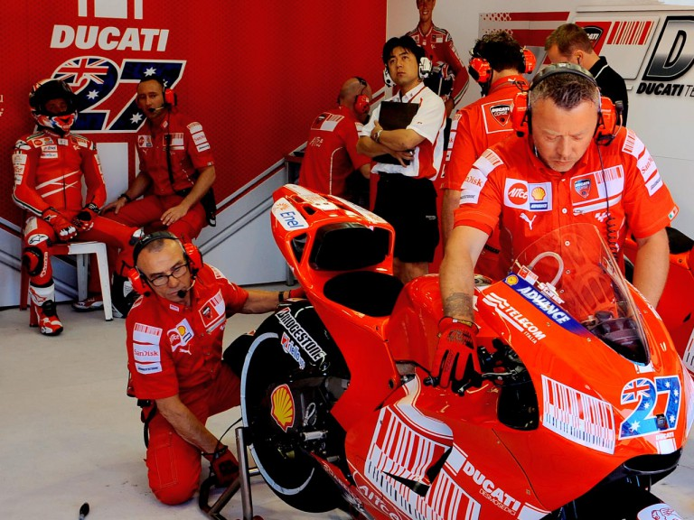 Casey Stoner and Ducati Technics in the garage
