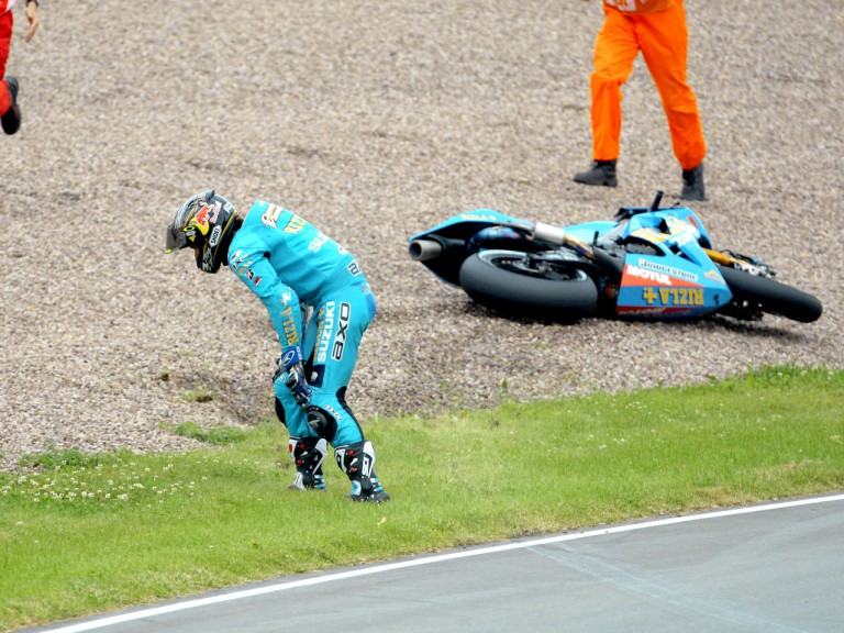 Chris Vermeulen after crash during FP1 in Sachsenring