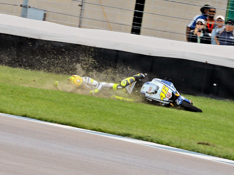 Rossi crashes during  the race at Indianapolis
