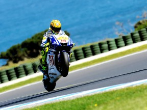 Valentino Rossi pulls of a wheelie in Phillip Island