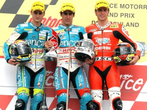 Sergio Gadea, Julian Simón and Joan Olivé on the podium in Sachsenring