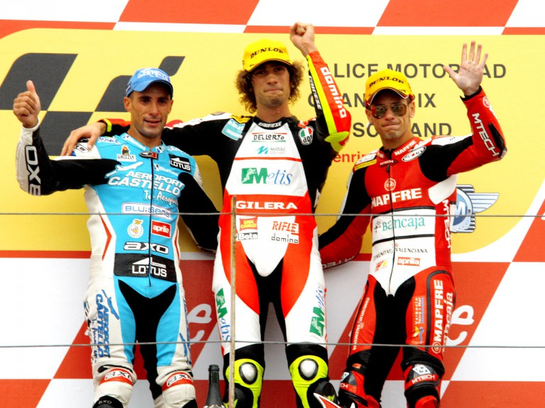 Alex Debon, Marco Simoncelli and Alvaro Bautista on the podium in Sachsenring