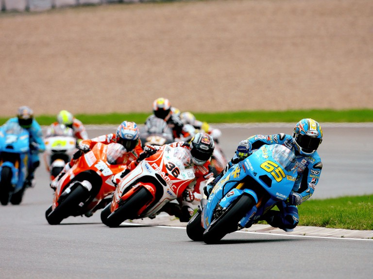 Loris Capirossi riding ahead of MotoGP group in Sachsenring