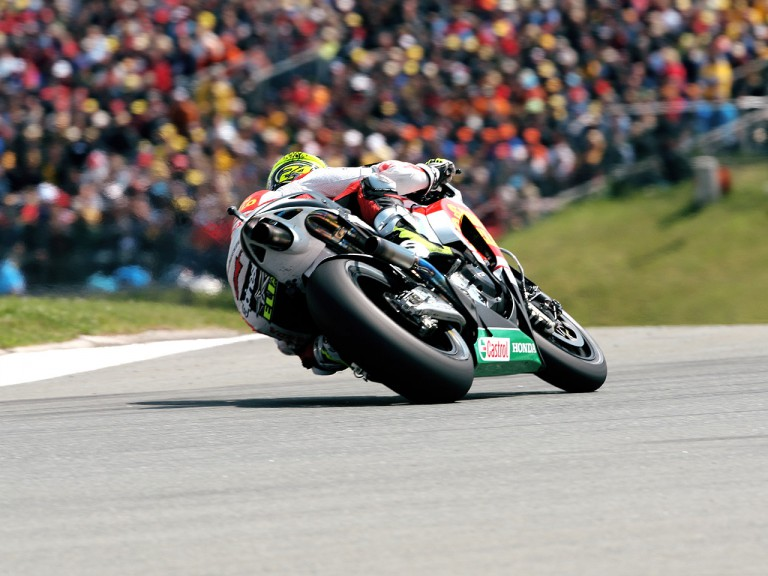 Toni Elias in action in Sachsenring