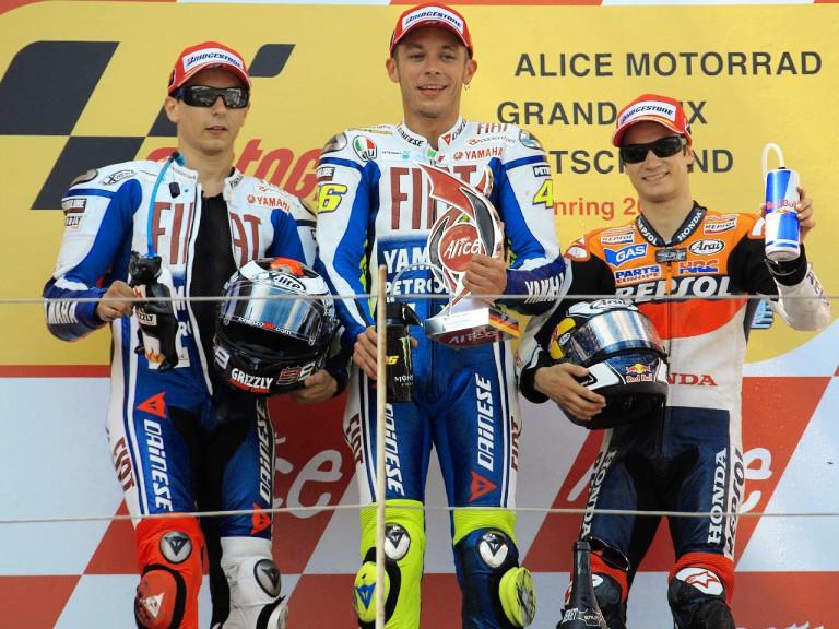 Jorge Lorenzo, Valentino Rossi and Dani Pedrosa on the podium in Sachsenring