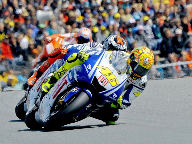 Valentino Rossi riding ahead of Jorge Lorenzo and Casey Stoner in Sachsenring