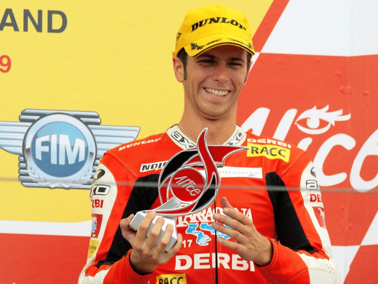 Joan Olivé on the podium in Sachsenring