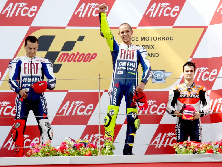 Lorenzo, Rossi and Pedrosa on the podium at the Alice Motorrad GP Deutschland