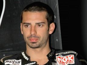 Marco Melandri in the Hayate Racing garage