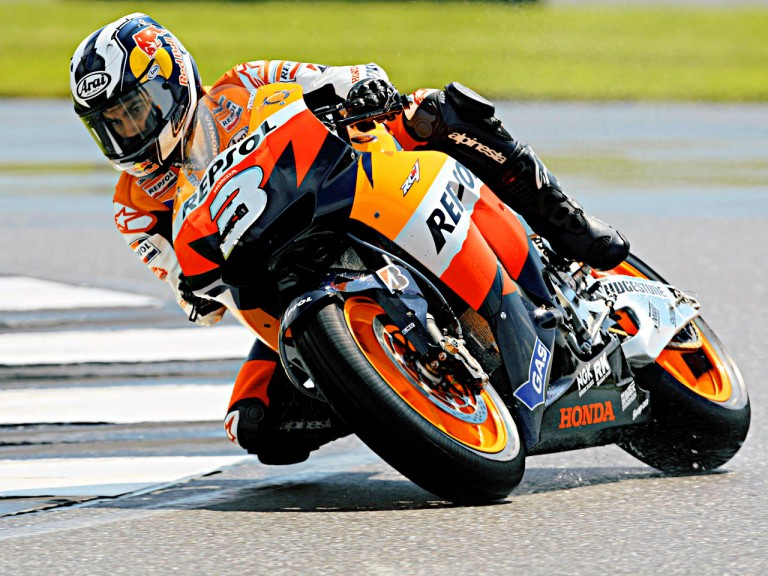 Dani Pedrosa in action in Donington