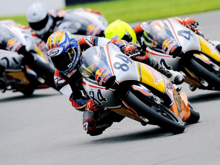 Jakub Kornfeil riding ahead of Rookies cup riders