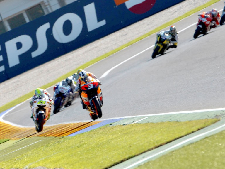 Pedrosa riding ahead of MotoGP group in Valencia
