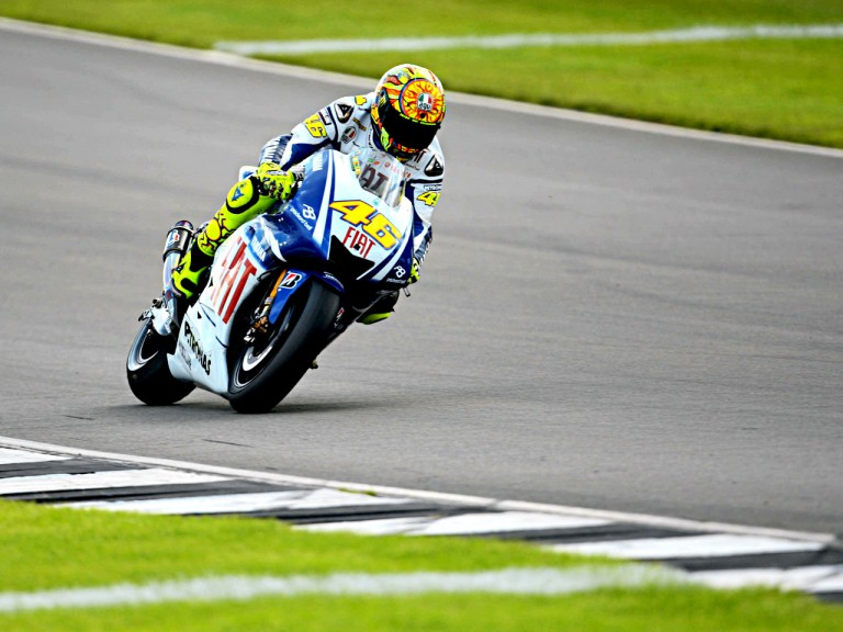 Valentino Rossi in action in Donington