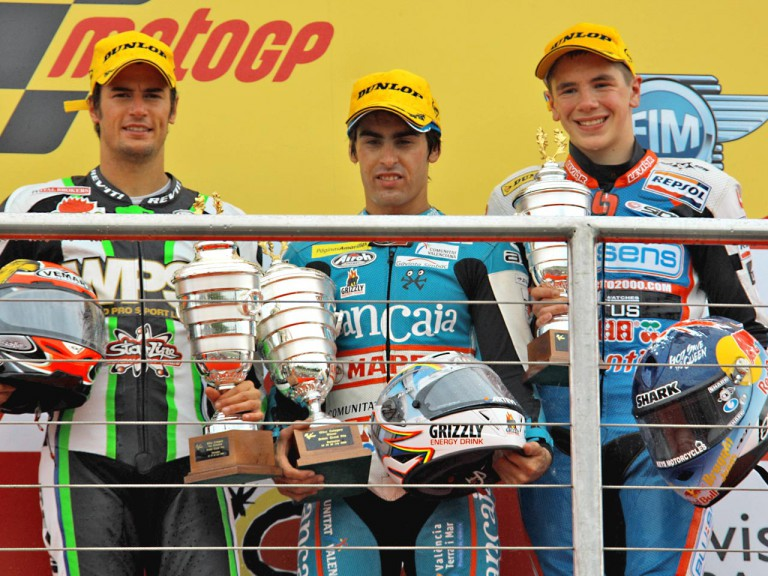 Corsi, Simón and Redding ont he podium at Donington