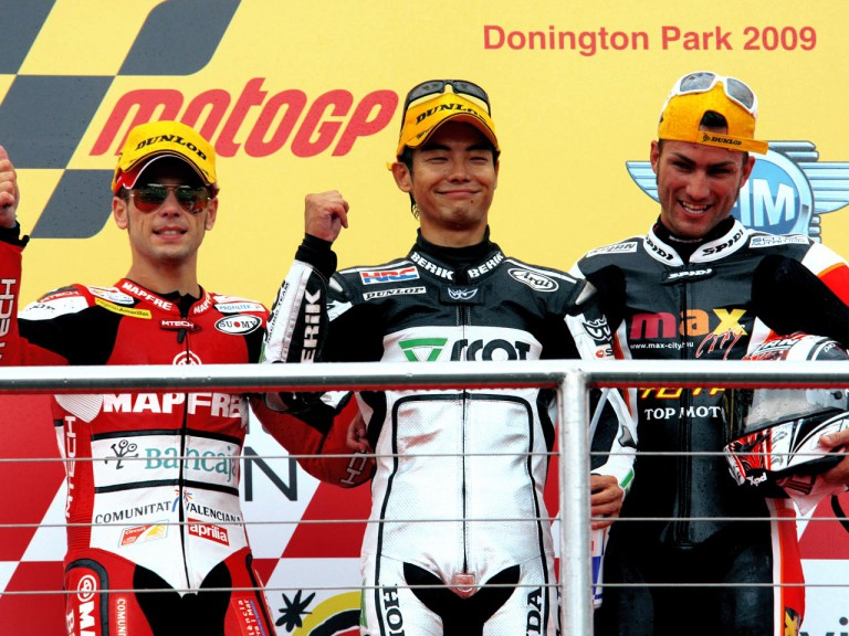 Bautista, Aoyama and Pasini on the podium at Donington