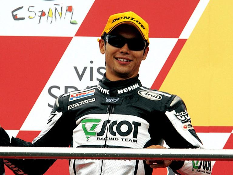 Hiroshi Aoyama on the podium at Donington
