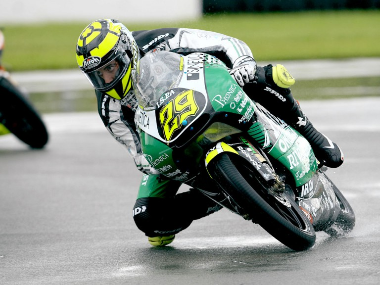 Andrea Iannone in action in Donington