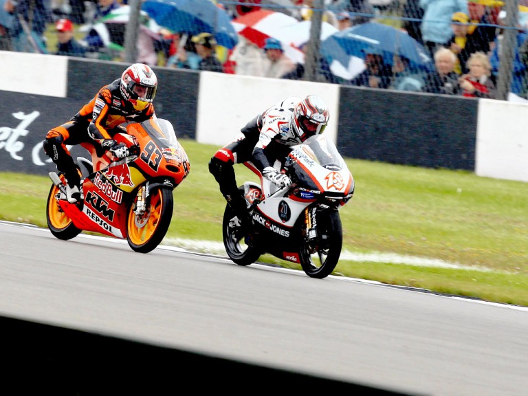 Nico Terol and Marc Márquez in action in Donington