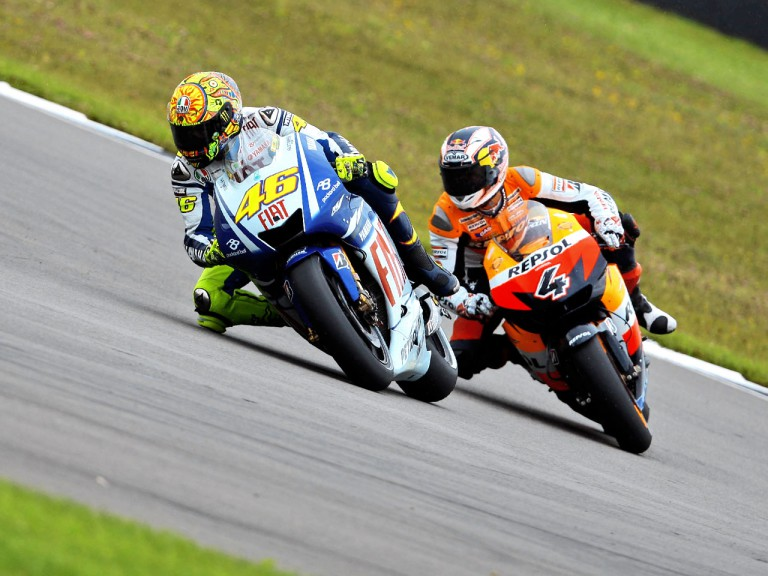 Valentino Rossi riding ahead of Andrea Dovizioso in British GP
