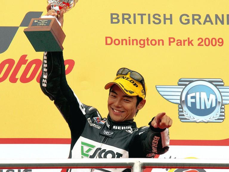 Hiroshi Aoyama on the podium in Donington