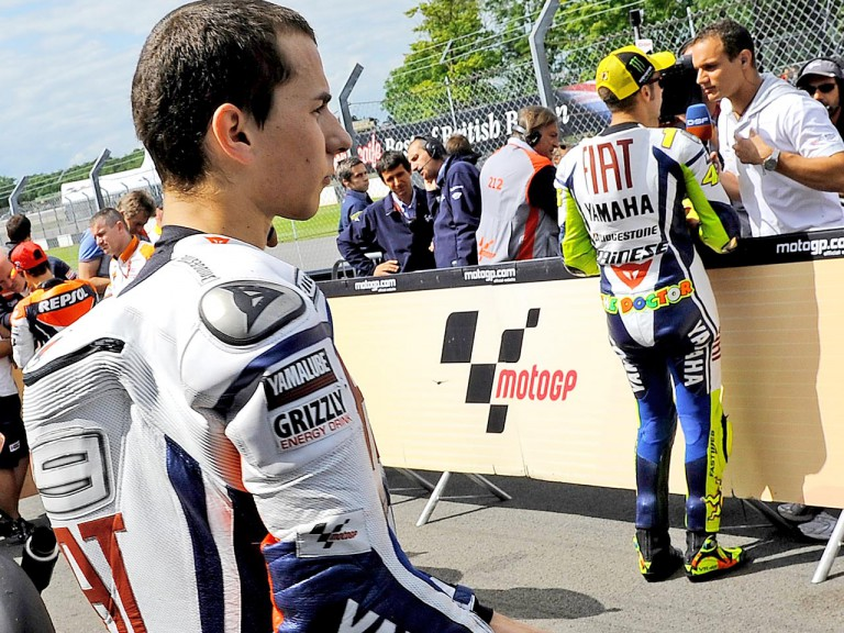 Lorenzo and Rossi in Parc Fermé at Donington