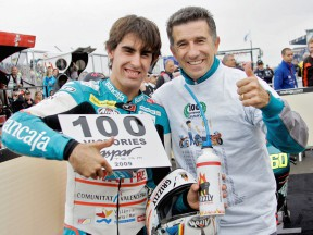 Julián Simón and Jorge Martínez Aspar after 100th wins at Donington