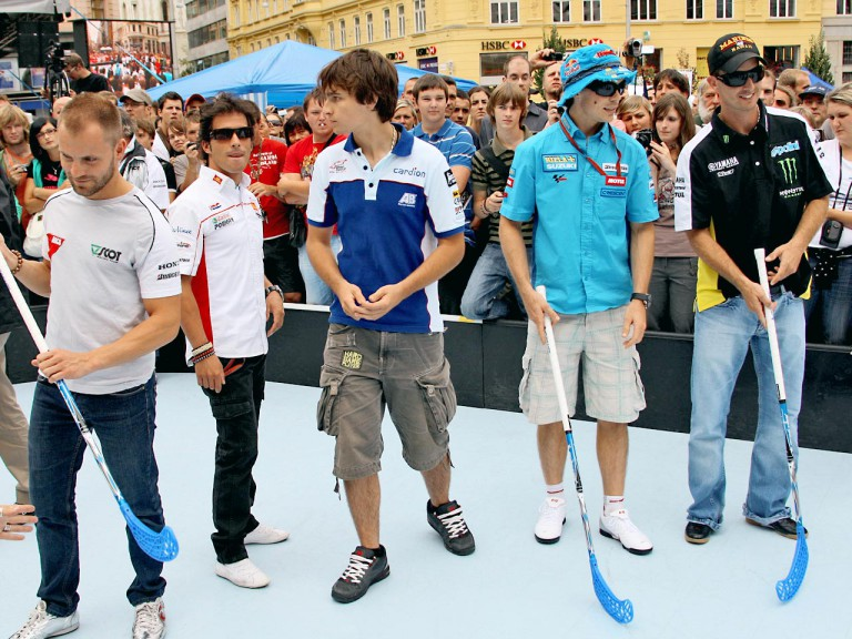 MotoGP riders participate in Brno floorball game