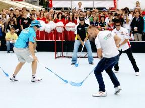 MotoGP riders participate in Brno floorball game