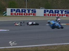 Alex De Angelis crash during FP1 in Brno