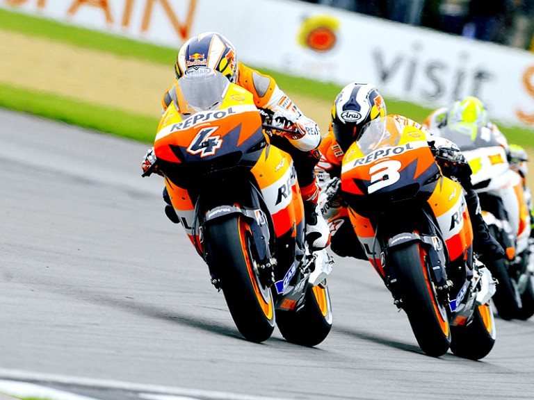 Andrea Dovizioso and Dani Pedrosa in action