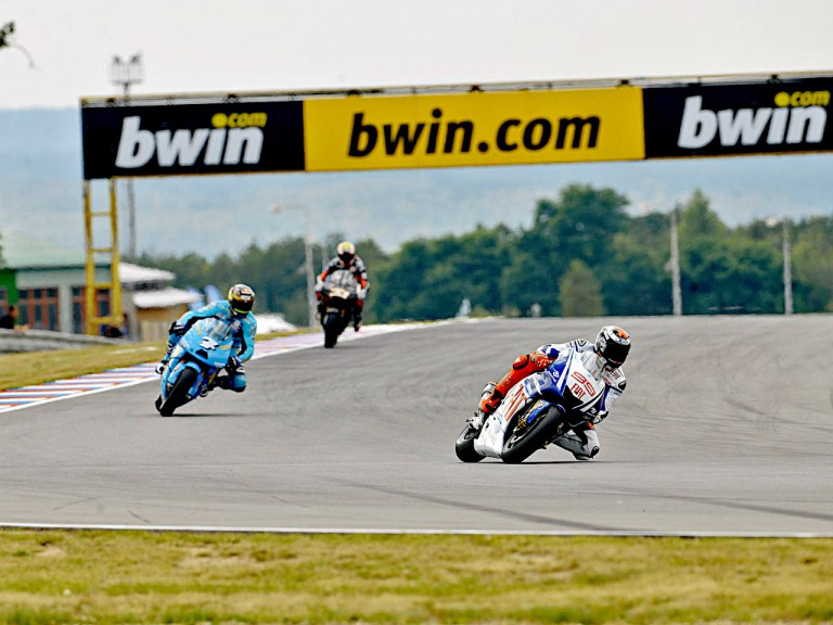 Lorenzo riding ahead of Vermeulen and Melandri in Brno