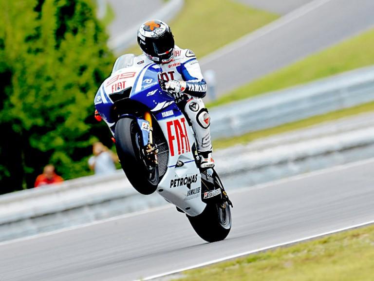 Jorge Lorenzo pulls off a Wheelie in Brno