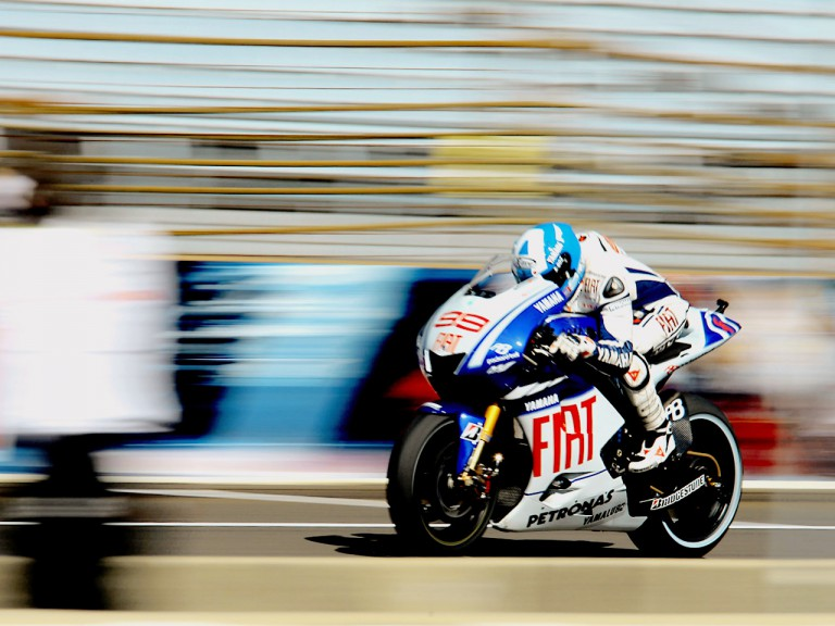 Jorge Lorenzo in action at the Red Bull Indianapolis Grand Prix