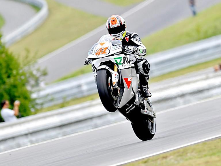 Gabor Talmacsi pulls of a wheelie in Brno
