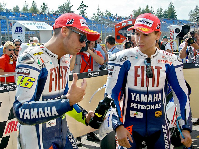 Rossi and Lorenzo in the parc fermé after QP in Brno