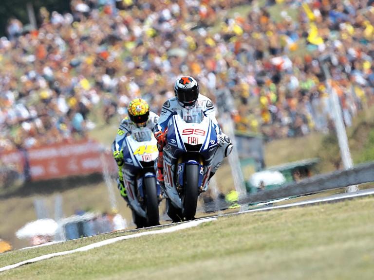 Lorenzo riding ahead of Rossi in Brno