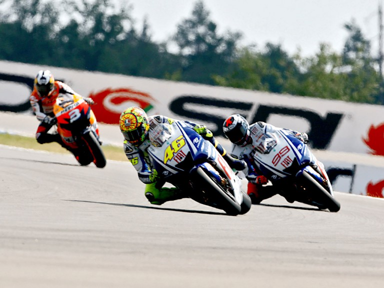 Rossi riding ahead of Lorenzo and Pedrosa in Brno