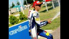 Valentino Rossi celebrates podium at Cardion ab Grand Prix