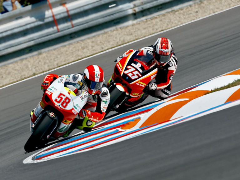 Marco Simoncelli riding ahead of Mattia Pasini in Brno